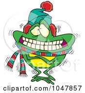 Royalty Free RF Clip Art Illustration Of A Cartoon Shivering Frog
