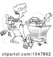 Cartoon Black And White Outline Design Of A Woman Shopping With Her Son