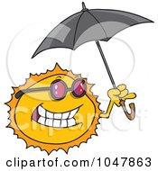 Royalty Free RF Clip Art Illustration Of A Cartoon Sun Holding An Umbrella by toonaday