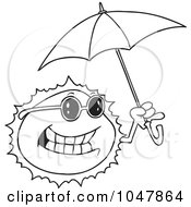 Royalty Free RF Clip Art Illustration Of A Cartoon Black And White Outline Design Of A Sun Holding An Umbrella by toonaday