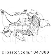Cartoon Black And White Outline Design Of A Shopping Elephant