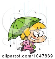 Cartoon Happy Girl With An Umbrella In The Rain