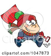 Royalty Free RF Clip Art Illustration Of A Cartoon Winter Boy Carrying A Snow Shovel