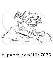 Royalty Free RF Clip Art Illustration Of A Cartoon Black And White Outline Design Of A Woman Shoveling Snow