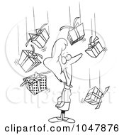 Cartoon Black And White Outline Design Of A Woman Being Showered In Gifts
