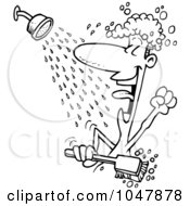 Cartoon Black And White Outline Design Of A Guy Singing In The Shower