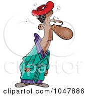 Royalty Free RF Clip Art Illustration Of A Cartoon Sick Black Man