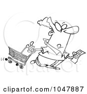 Royalty Free RF Clip Art Illustration Of A Cartoon Black And White Outline Design Of A Guy With A Shopping List
