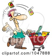 Royalty Free RF Clip Art Illustration Of A Cartoon Guy Grocery Shopping by toonaday