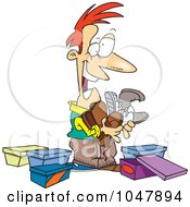Royalty Free RF Clip Art Illustration Of A Cartoon Guy With A Shoe Fetish