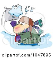 Royalty Free RF Clip Art Illustration Of A Cartoon Guy Shoveling Snow