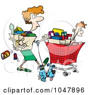 Royalty Free RF Clip Art Illustration Of A Cartoon Woman Shopping With Her Son by toonaday