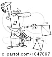 Cartoon Black And White Outline Design Of A Businessman Signaling With Flags
