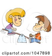 Royalty Free RF Clip Art Illustration Of A Cartoon Boy And Girl On A Teeter Totter