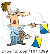 Cartoon Businessman Signaling With Flags