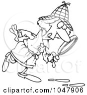 Royalty Free RF Clip Art Illustration Of A Cartoon Black And White Outline Design Of A Female Detective by toonaday