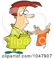 Royalty Free RF Clip Art Illustration Of A Cartoon Woman Holding A Shrunk Shirt by toonaday