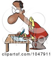 Royalty Free RF Clip Art Illustration Of A Cartoon Black Businessman Signing A Document