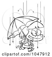 Royalty Free RF Clip Art Illustration Of A Cartoon Black And White Outline Design Of A Happy Girl With An Umbrella In The Rain