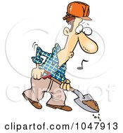 Royalty Free RF Clip Art Illustration Of A Cartoon Digging Construction Worker by toonaday