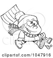 Royalty Free RF Clip Art Illustration Of A Cartoon Black And White Outline Design Of A Winter Boy Carrying A Snow Shovel