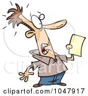 Royalty Free RF Clip Art Illustration Of A Cartoon Shocked Man Holding A Document