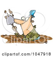 Royalty Free RF Clip Art Illustration Of A Cartoon Construction Worker Digging by toonaday