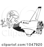Royalty Free RF Clip Art Illustration Of A Cartoon Black And White Outline Design Of A Shuttle Mechanic Working by toonaday