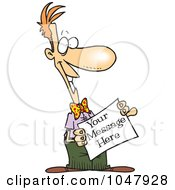 Cartoon Man Holding A Blank Sign