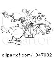 Royalty Free RF Clip Art Illustration Of A Cartoon Black And White Outline Design Of A Giving Christmas Penguin