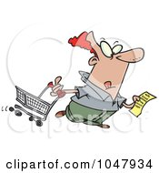 Royalty Free RF Clip Art Illustration Of A Cartoon Guy With A Shopping List