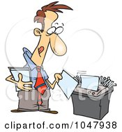 Royalty Free RF Clip Art Illustration Of A Cartoon Businessman Using A Shredder