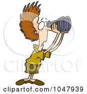 Royalty Free RF Clip Art Illustration Of A Cartoon Shocked Businesswoman Using Binoculars