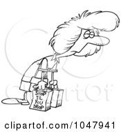 Royalty Free RF Clip Art Illustration Of A Cartoon Black And White Outline Design Of An Exhausted Shopaholic