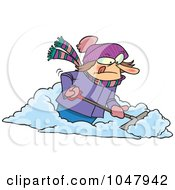 Royalty Free RF Clip Art Illustration Of A Cartoon Woman Shoveling Snow