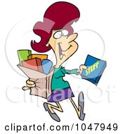 Royalty Free RF Clip Art Illustration Of A Cartoon Woman Carrying A Shopping Bag by toonaday