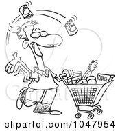 Royalty Free RF Clip Art Illustration Of A Cartoon Black And White Outline Design Of A Guy Grocery Shopping