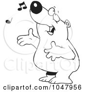 Cartoon Black And White Outline Design Of A Singing Bear