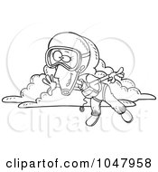 Royalty Free RF Clip Art Illustration Of A Cartoon Black And White Outline Design Of A Skydiving Woman