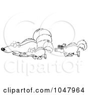 Royalty Free RF Clip Art Illustration Of A Cartoon Black And White Outline Design Of A Skunk Wearing A Mask And Following Others