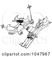 Royalty Free RF Clip Art Illustration Of A Cartoon Black And White Outline Design Of A Skiing Cow