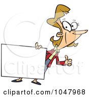 Royalty Free RF Clip Art Illustration Of A Cartoon Businesswoman Holding A Blank Sign