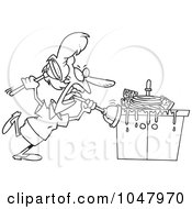 Royalty Free RF Clip Art Illustration Of A Cartoon Black And White Outline Design Of A Woman Tackling A Sink With A Plunger by Ron Leishman