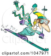 Royalty Free RF Clip Art Illustration Of A Cartoon Skier Guy by toonaday