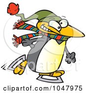 Royalty Free RF Clip Art Illustration Of A Cartoon Winter Penguin Ice Skating by toonaday