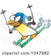 Royalty Free RF Clip Art Illustration Of A Cartoon Ski Penguin by toonaday