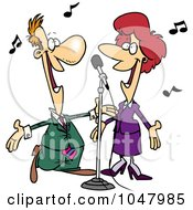 Royalty Free RF Clip Art Illustration Of A Cartoon Couple Singing by toonaday