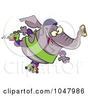 Cartoon Roller Blading Elephant