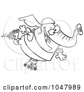 Cartoon Black And White Outline Design Of A Roller Blading Elephant
