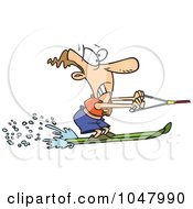 Royalty Free RF Clip Art Illustration Of A Cartoon Water Skiing Man